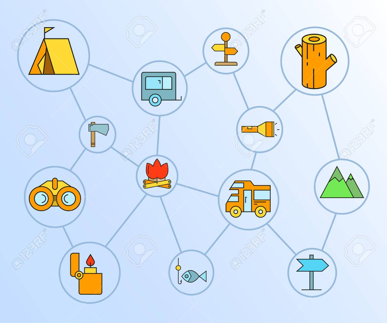 camping concept icons network