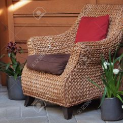 Comfortable Wicker Chairs Step Stool Chair Restore Sitting Area With Decorated Flower Pots Stock Photo 19161483