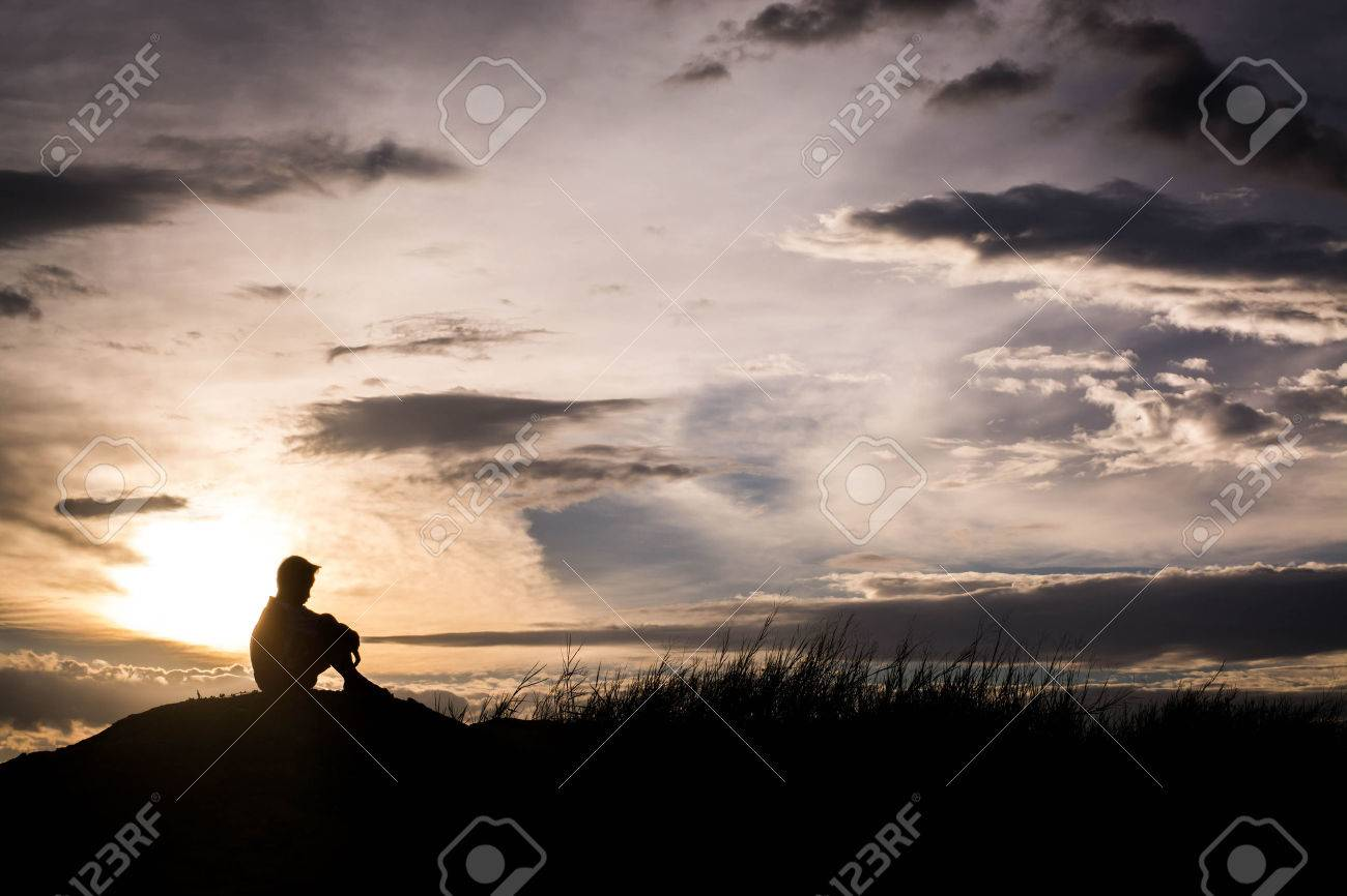 sad boy silhouette worried