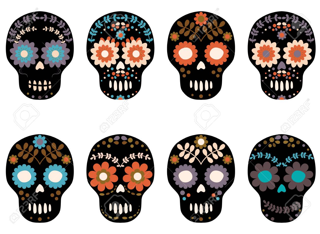 Stylish Vector Sugar Skull With Floral Patterns For Halloween Royalty Free Cliparts Vectors And Stock Illustration Image 87041659