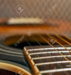 classic vintage acoustic guitar with visible frats and wires close up view stock photo [ 1300 x 866 Pixel ]