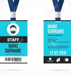 event staff id card set with lanyard vector design and text template illustration stock vector [ 1300 x 812 Pixel ]