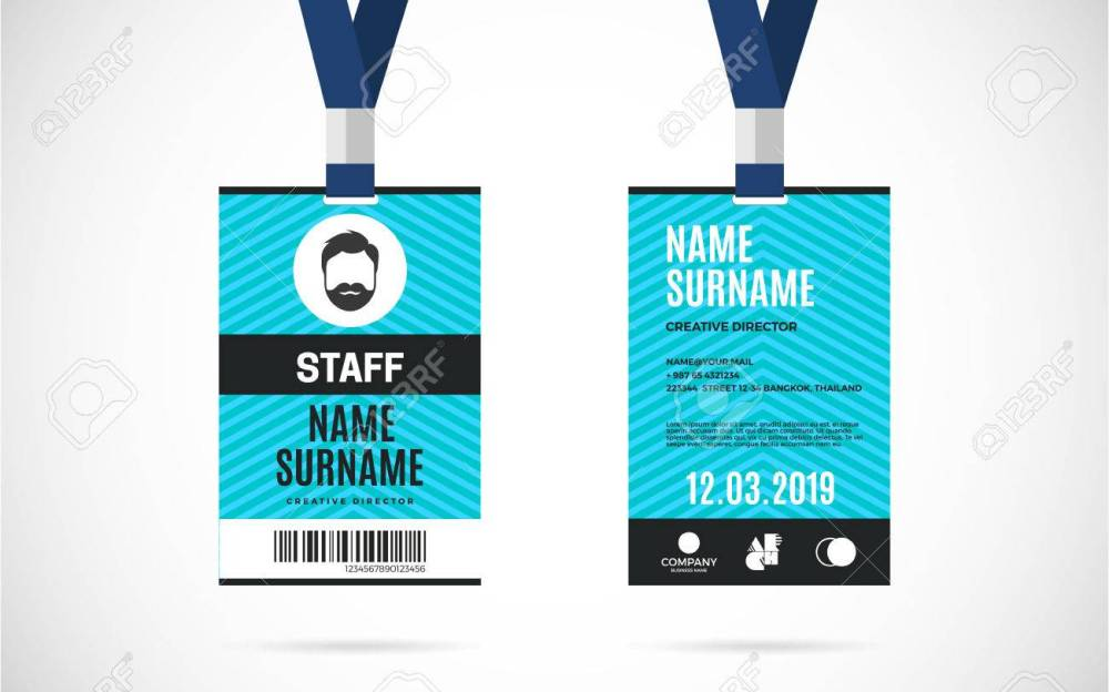 medium resolution of event staff id card set with lanyard vector design and text template illustration stock vector