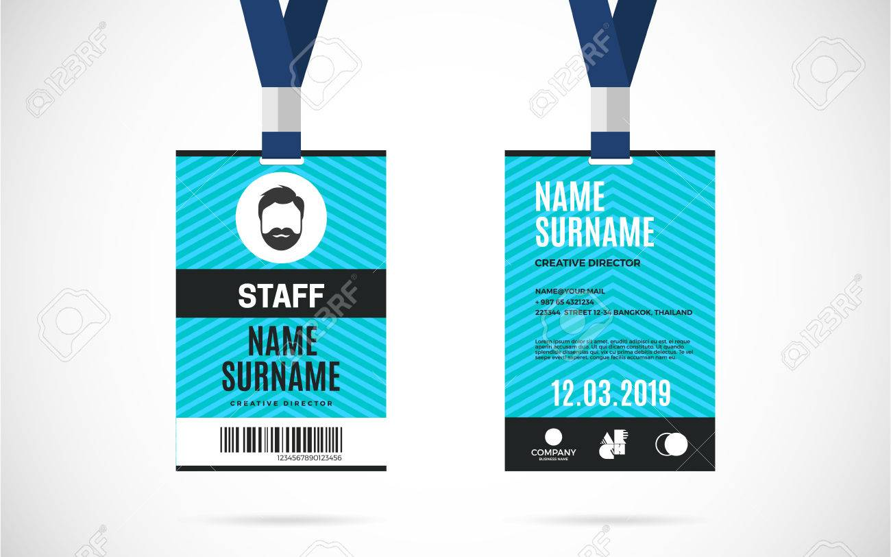 hight resolution of event staff id card set with lanyard vector design and text template illustration stock vector