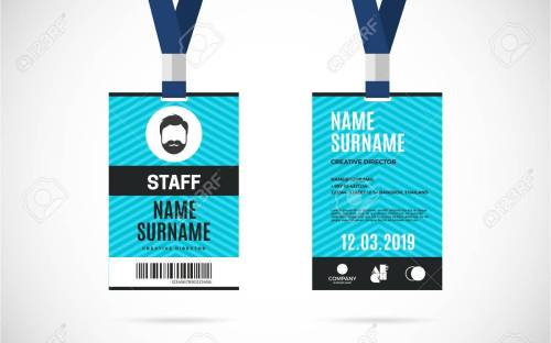 small resolution of event staff id card set with lanyard vector design and text template illustration stock vector
