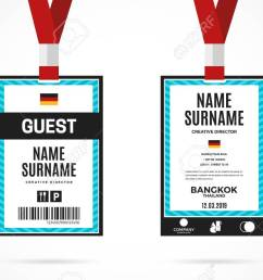event guest id card set with lanyard vector design and text template illustration stock vector [ 1300 x 812 Pixel ]