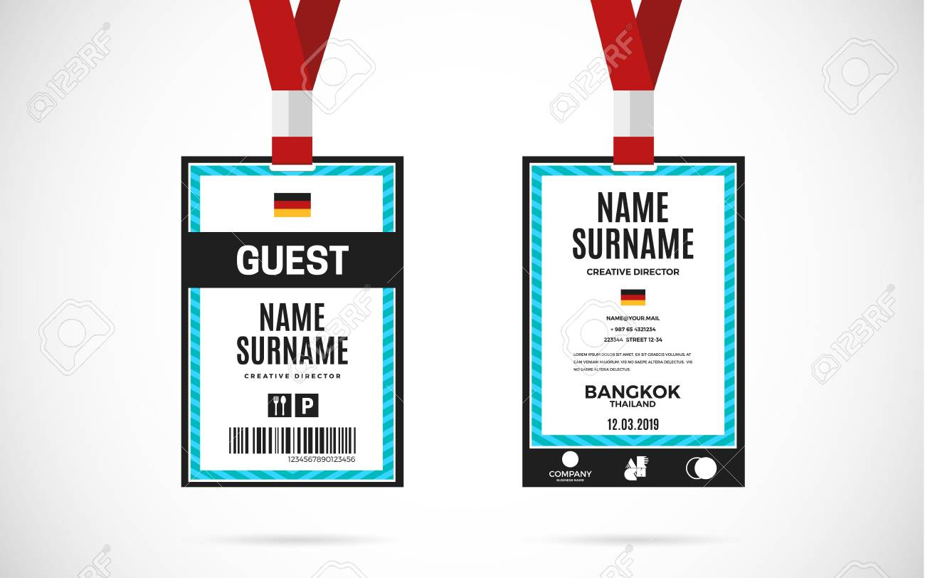 hight resolution of event guest id card set with lanyard vector design and text template illustration stock vector