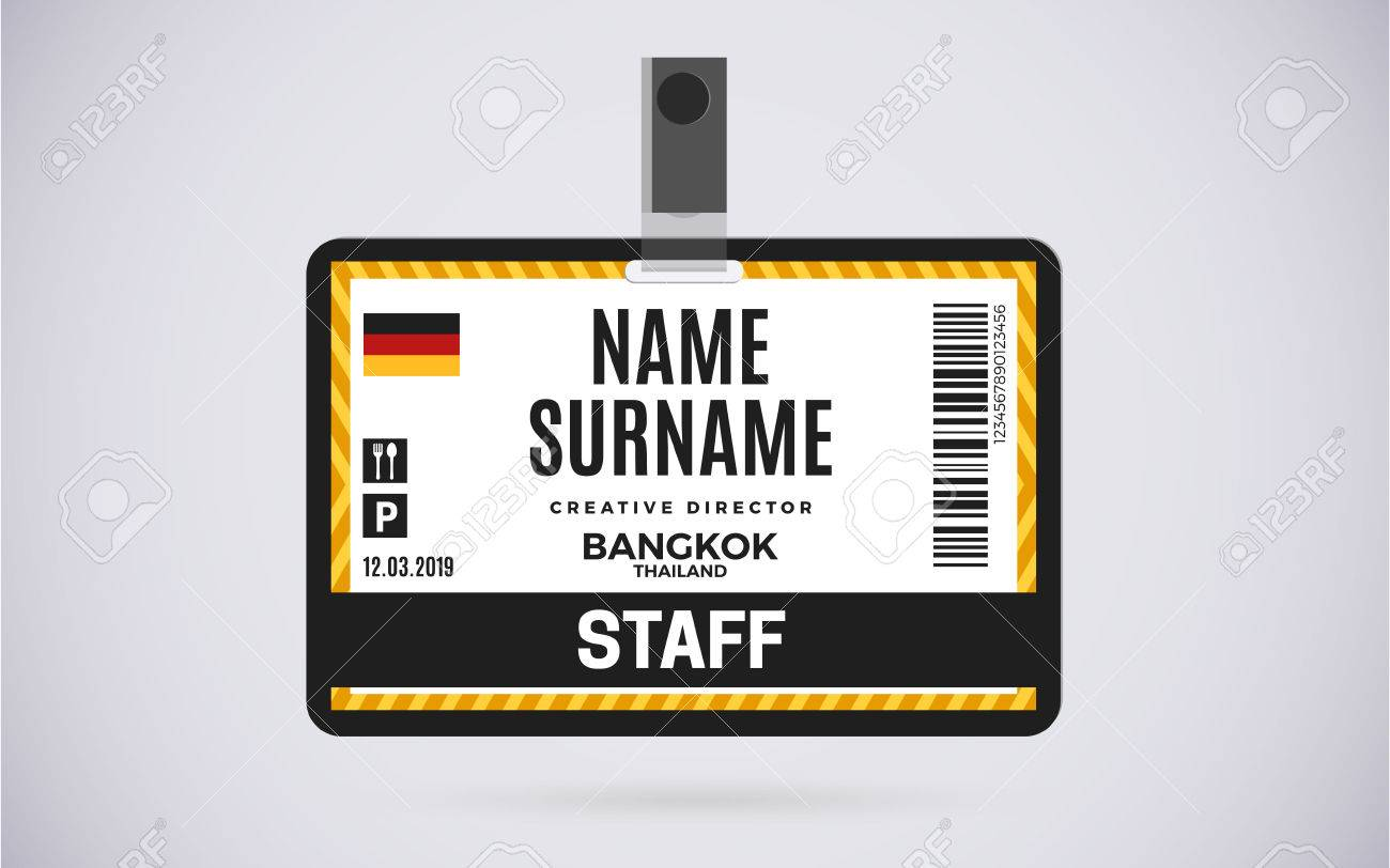 Create a professional id card for your employees using flipsnack's free online id card maker. Event Staff Id Card Plastic Badge With Lanyard Vector Design And Text Template Illustration Royalty Free Cliparts Vectors And Stock Illustration Image 69703473