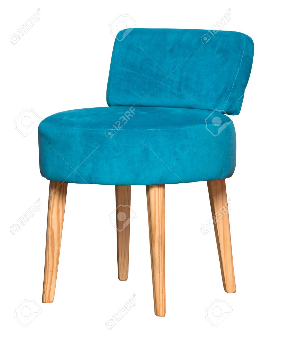 Small Stool Chair Small Textile Blue Chair Stool Isolated On White Background