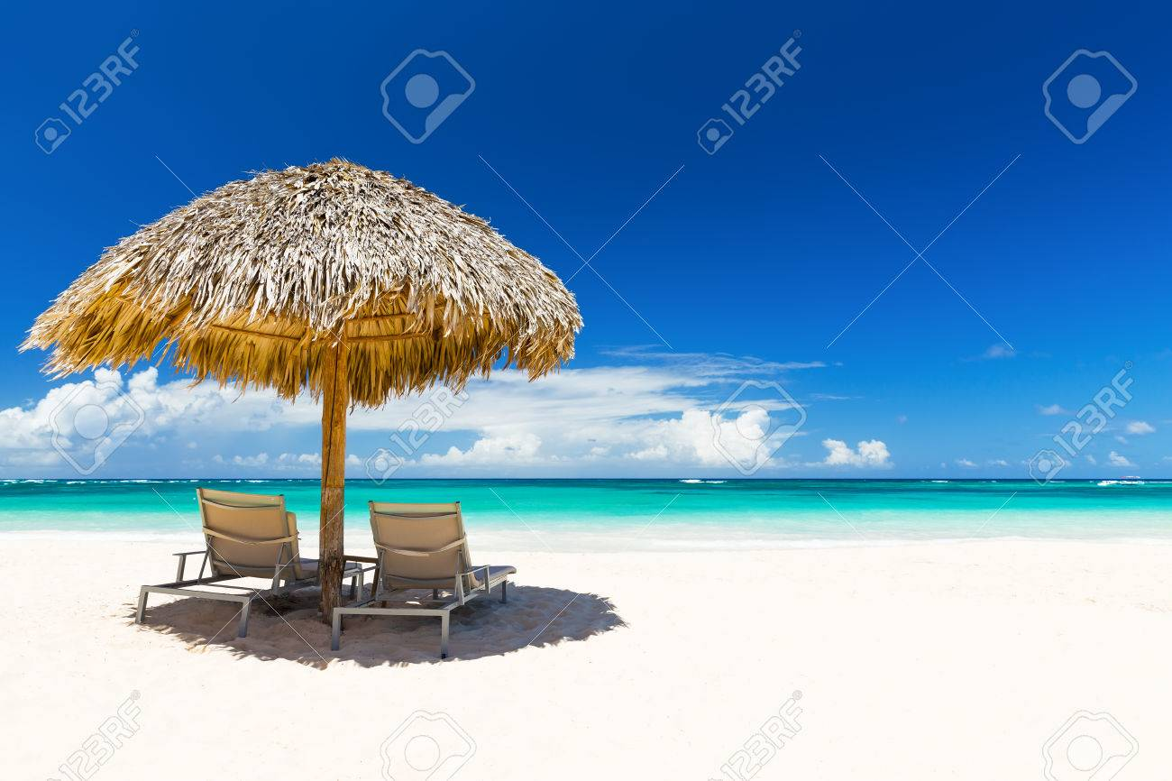 Beach Chairs With Umbrella Beach Chairs With Umbrella And Beautiful Sand Beach In Punta