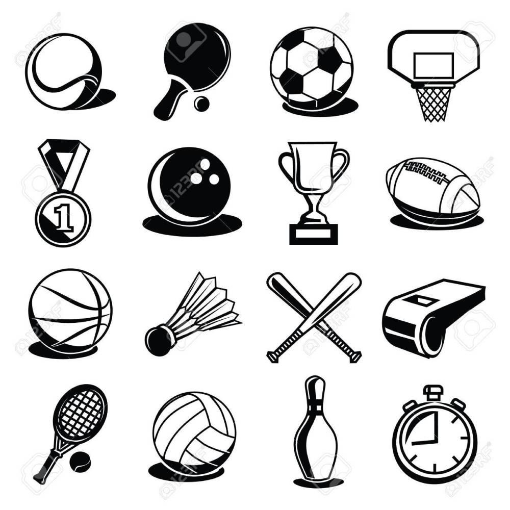 medium resolution of vector vector sport equipment and balls black icons set
