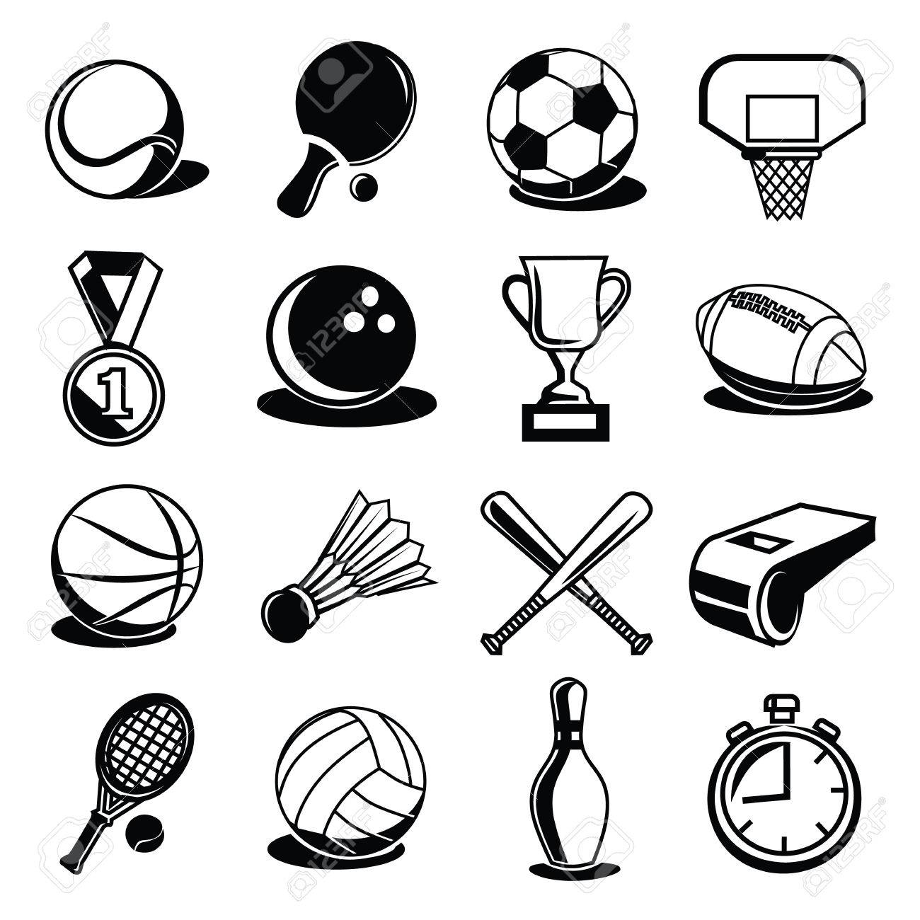 hight resolution of vector vector sport equipment and balls black icons set