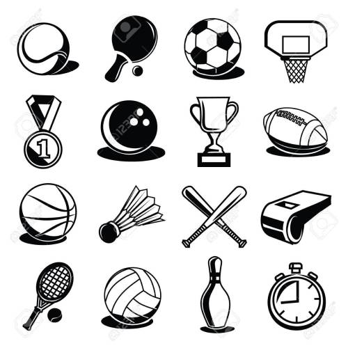 small resolution of vector vector sport equipment and balls black icons set