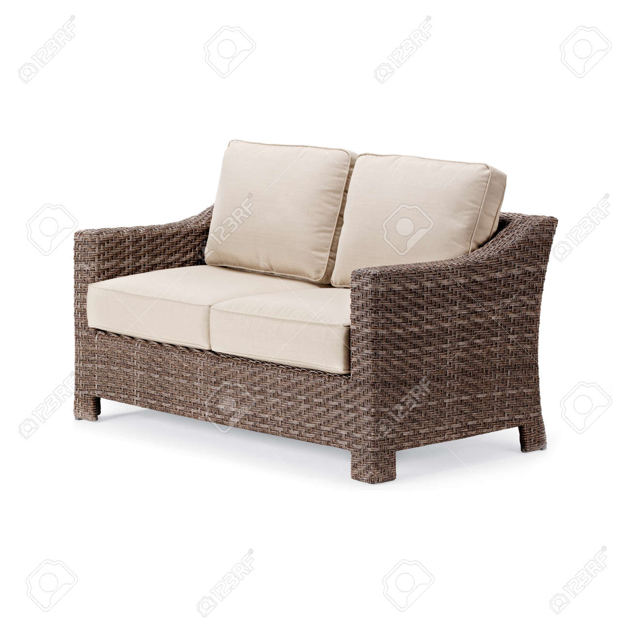 wicker outdoor sofa isolated on white background side view of