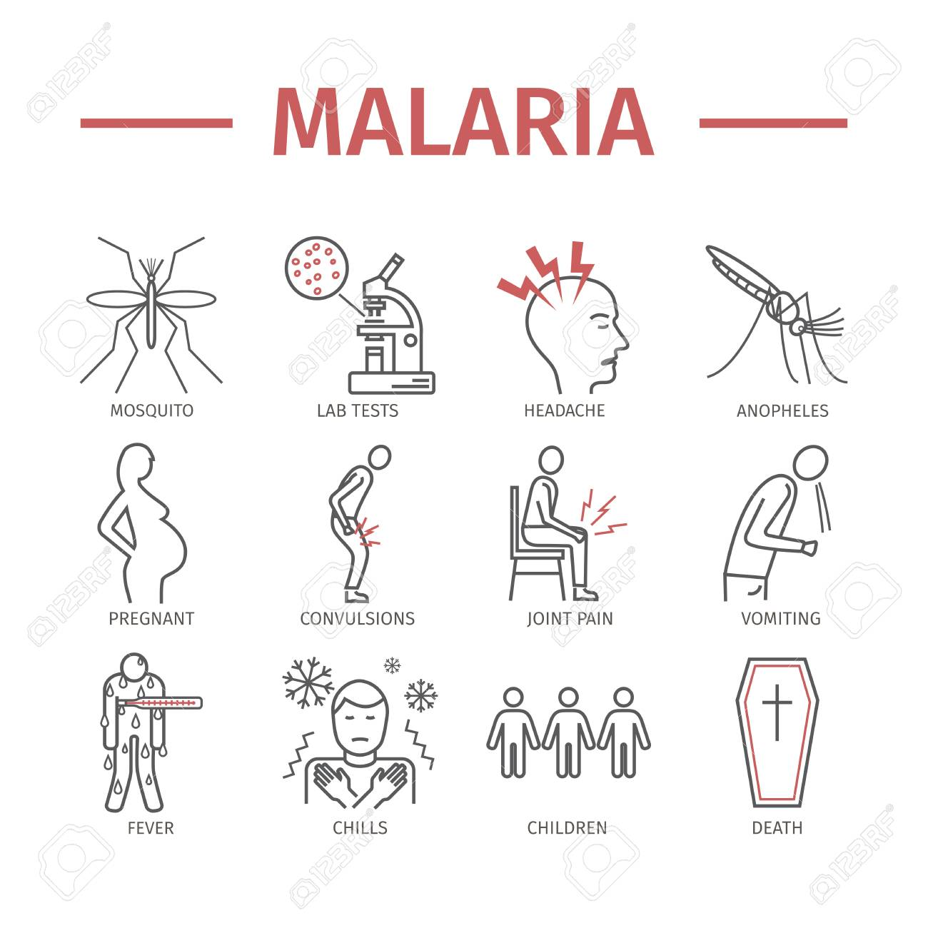 hight resolution of malaria line icon infographics symptoms vector signs for web graphics stock vector