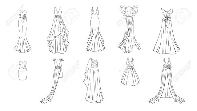 A Set Of Different Dresses. Modern And Classic Style. Dresses For