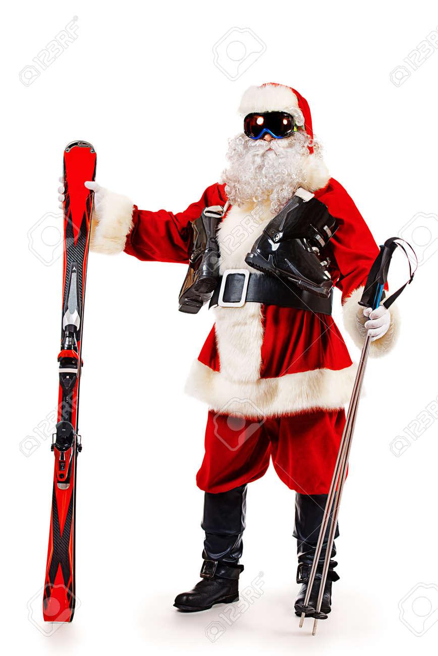 Natale regali auguri feste capodanno. Immagini Stock Babbo Natale E In Piedi Nella Maschera Da Sci E In Possesso Di Una Sciata Natale Isolato Su Bianco Image 23827727