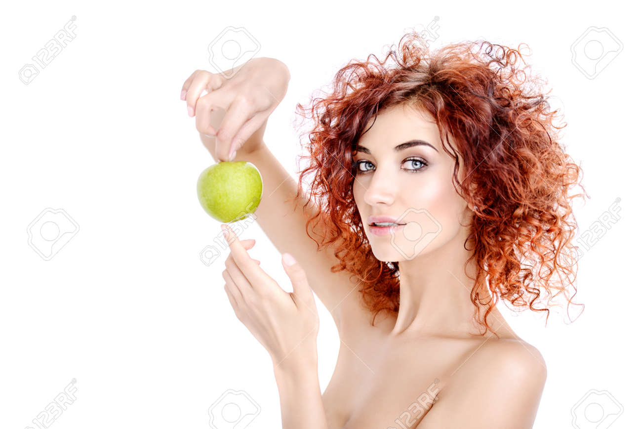 Beauty Natural Cosmetics And Hair Concept Beautiful Young Woman