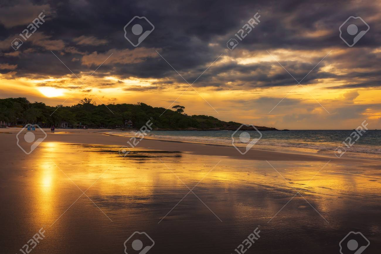 Sai Kaew Beach In Sunrise Time Koh Samet Island Rayong Thailand