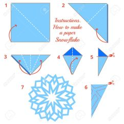 Christmas Origami Diagram Cadet Baseboard Heater Wiring Instructions How To Make Paper Snowflake Tutorial Step By Vector