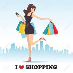 Lady Shopping Cartoon Images
