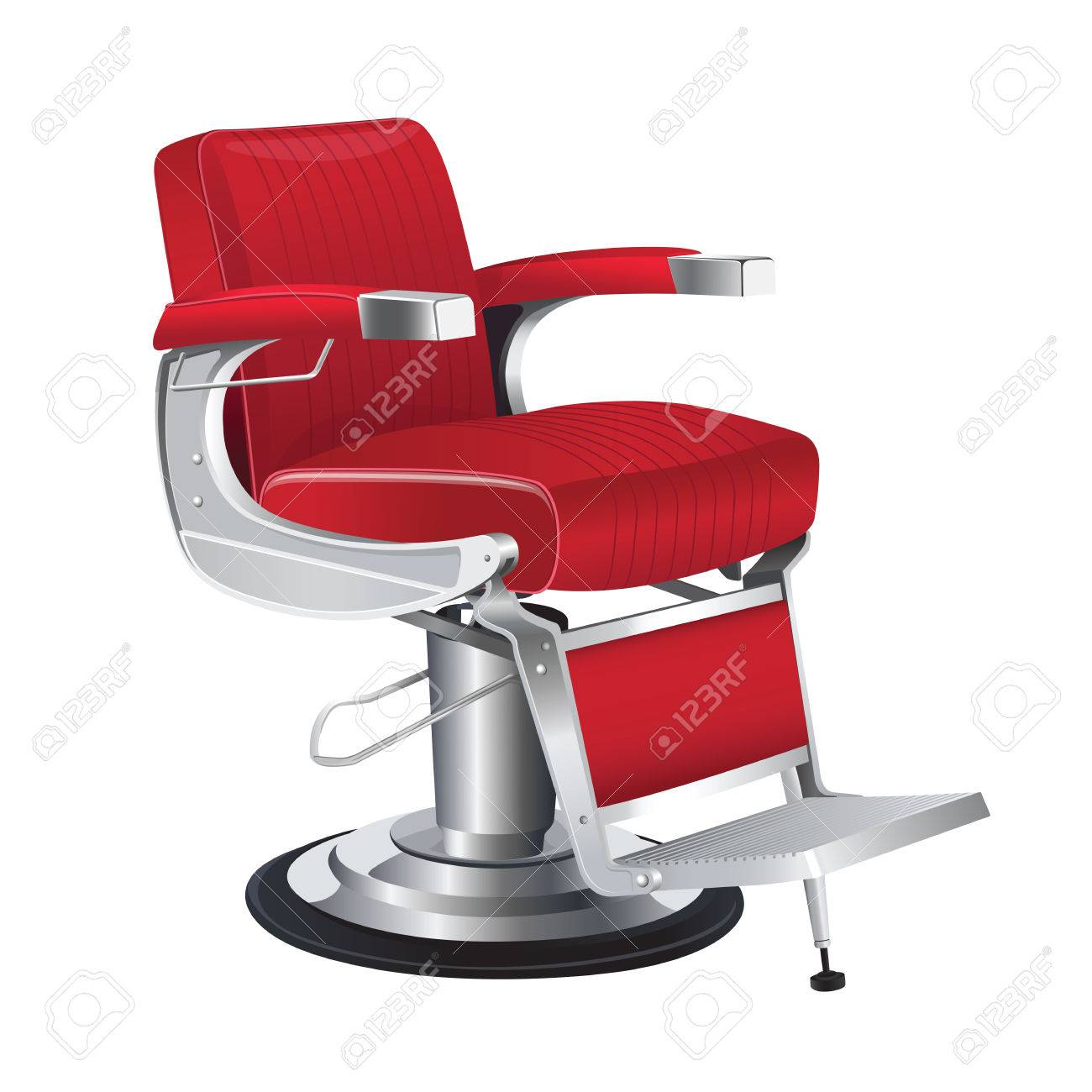 Red Barber Chair Vector Red Barber Chair On A White Background