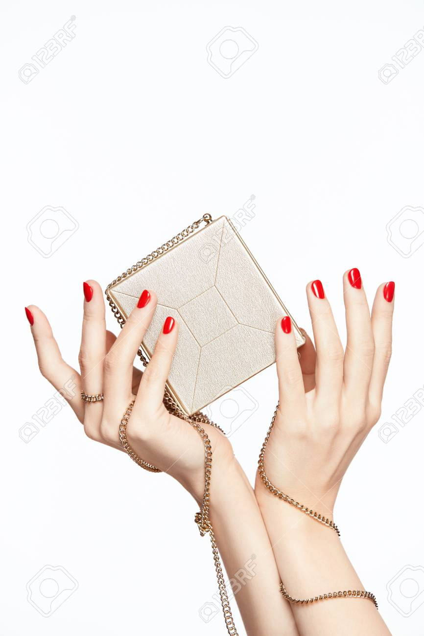 hight resolution of female hands with red manicure close up of woman hands with red