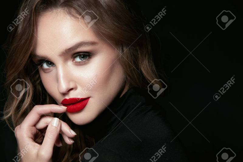 Beautiful Woman Face With Makeup And