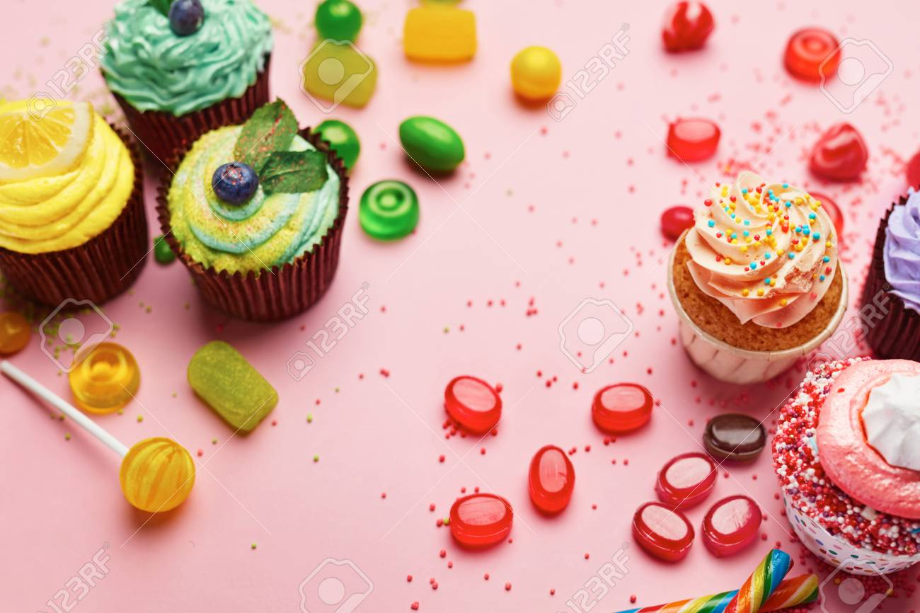 sweets candy and cupcakes