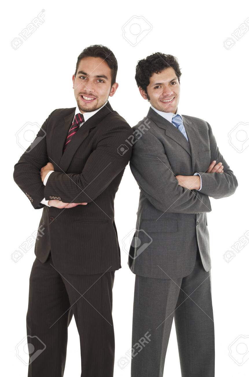 Deux Hommes En Costume : hommes, costume, Hommes, Costume, élégant, Posant, Croisés, Isolé, Blanc, Banque, D'Images, Photos, Libres, Droits., Image, 29938630.