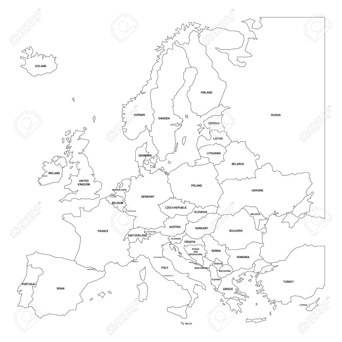 bersichtskarte von europa vereinfachte karte aus schwarzem zustand contous auf weissem hintergrund mit schwarzen etiketten landern europas