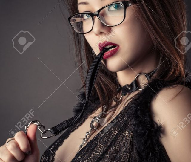 Beautiful Sexy Korean Girl With Leash In Mouth Stock Photo 75140075