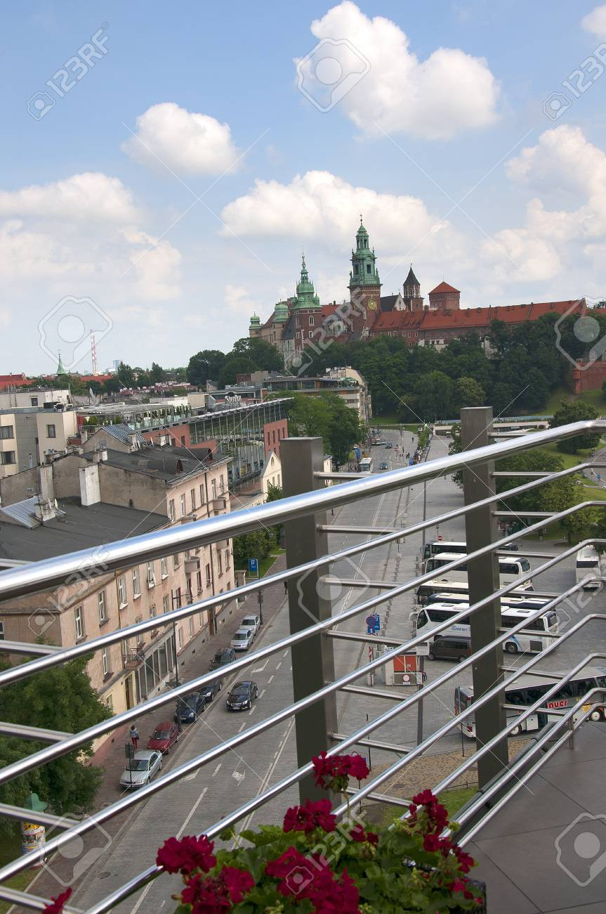 View Over Krakow From The Top Of The Hotel Kossak In Poland