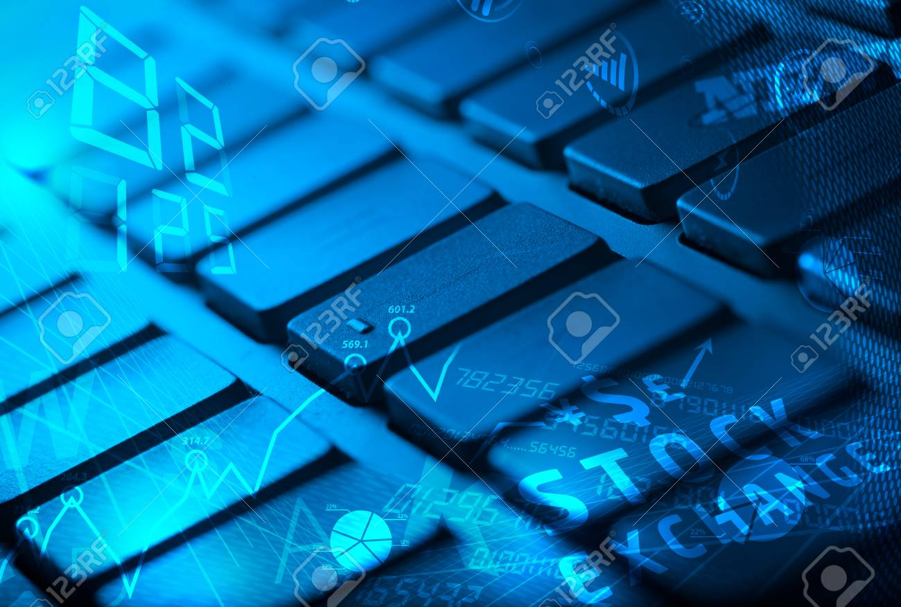hight resolution of computer keyboard with glowing business management icons and diagram stock photo 26277355