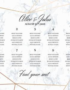 Vector wedding seating chart poster template geometric design in rose gold on the marble background dimensions horizontal  format also rh rf