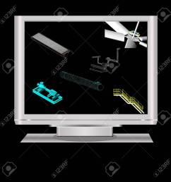 3d modeling of machineryin a lcd monitor note all the 3d model in the [ 1300 x 1300 Pixel ]