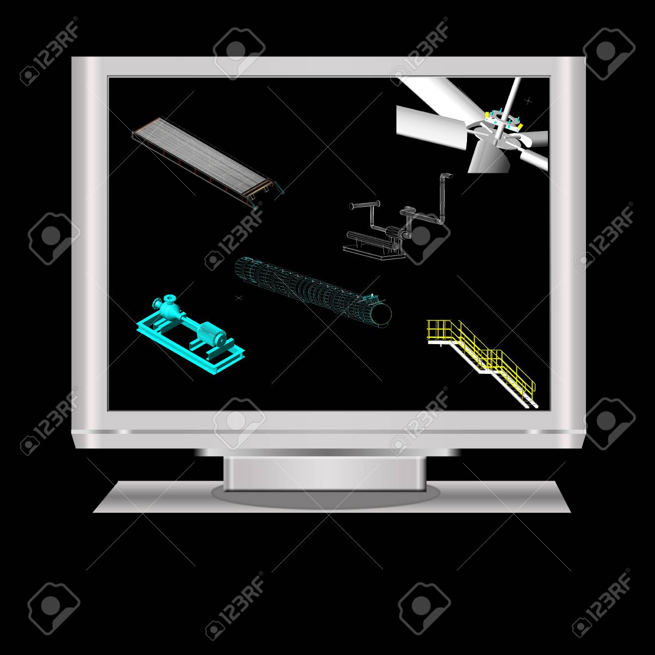 hight resolution of 3d modeling of machineryin a lcd monitor note all the 3d model in the