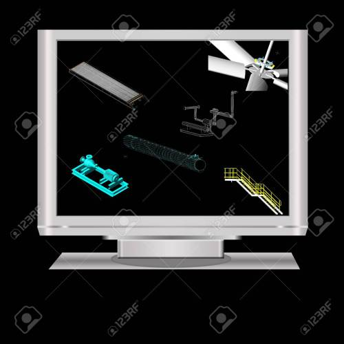 small resolution of 3d modeling of machineryin a lcd monitor note all the 3d model in the
