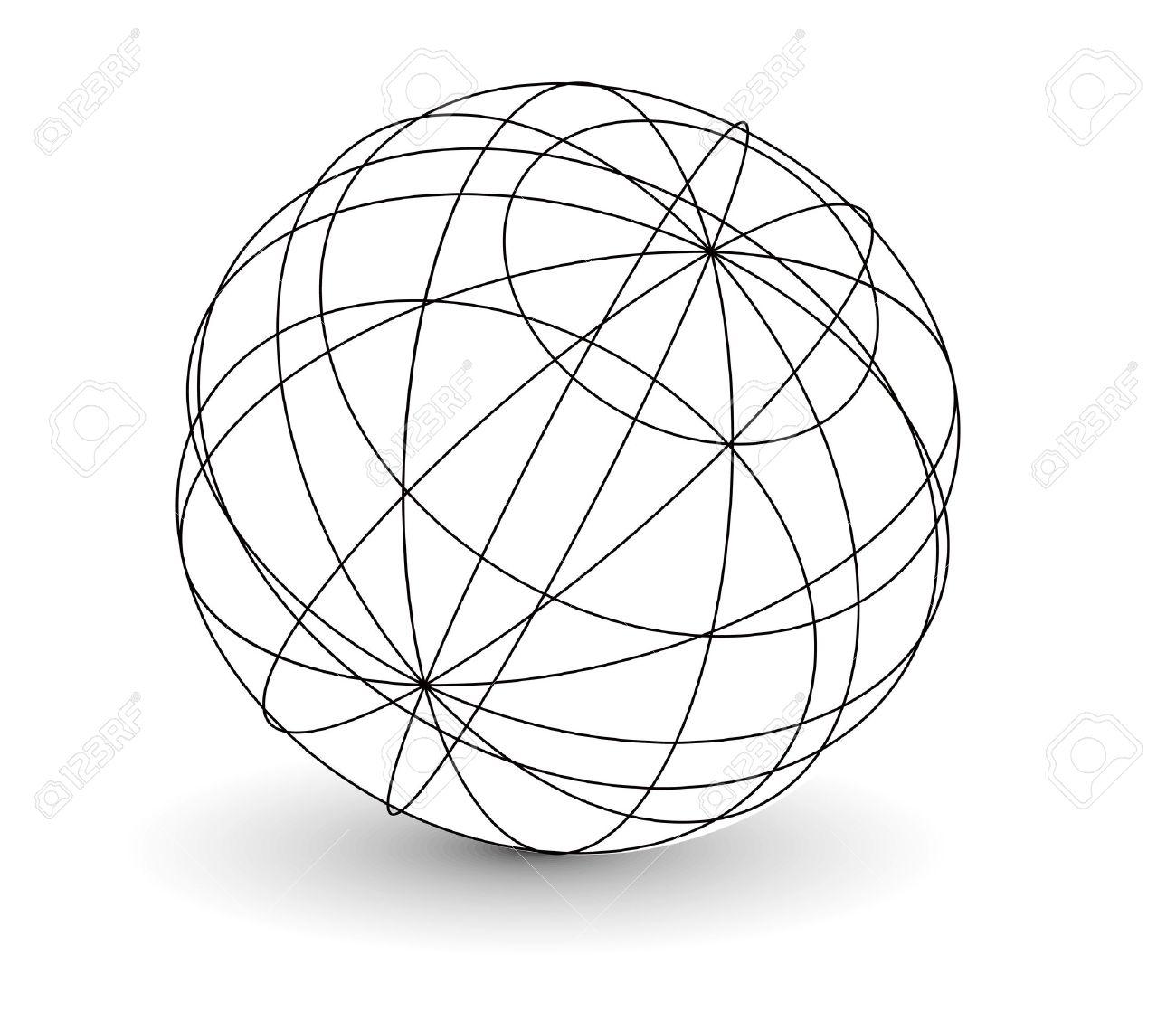 vector wireframe sphere globe