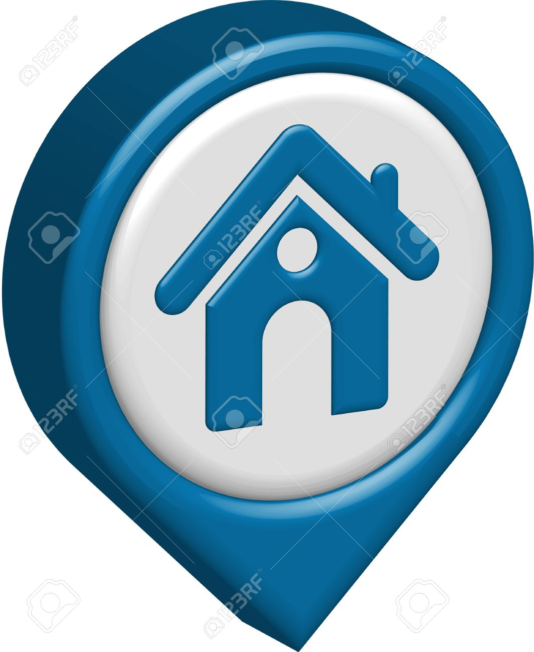 Blue Home Icon : Vector, Design, Isolated, White., Royalty, Cliparts,, Vectors,, Stock, Illustration., Image, 12492013.