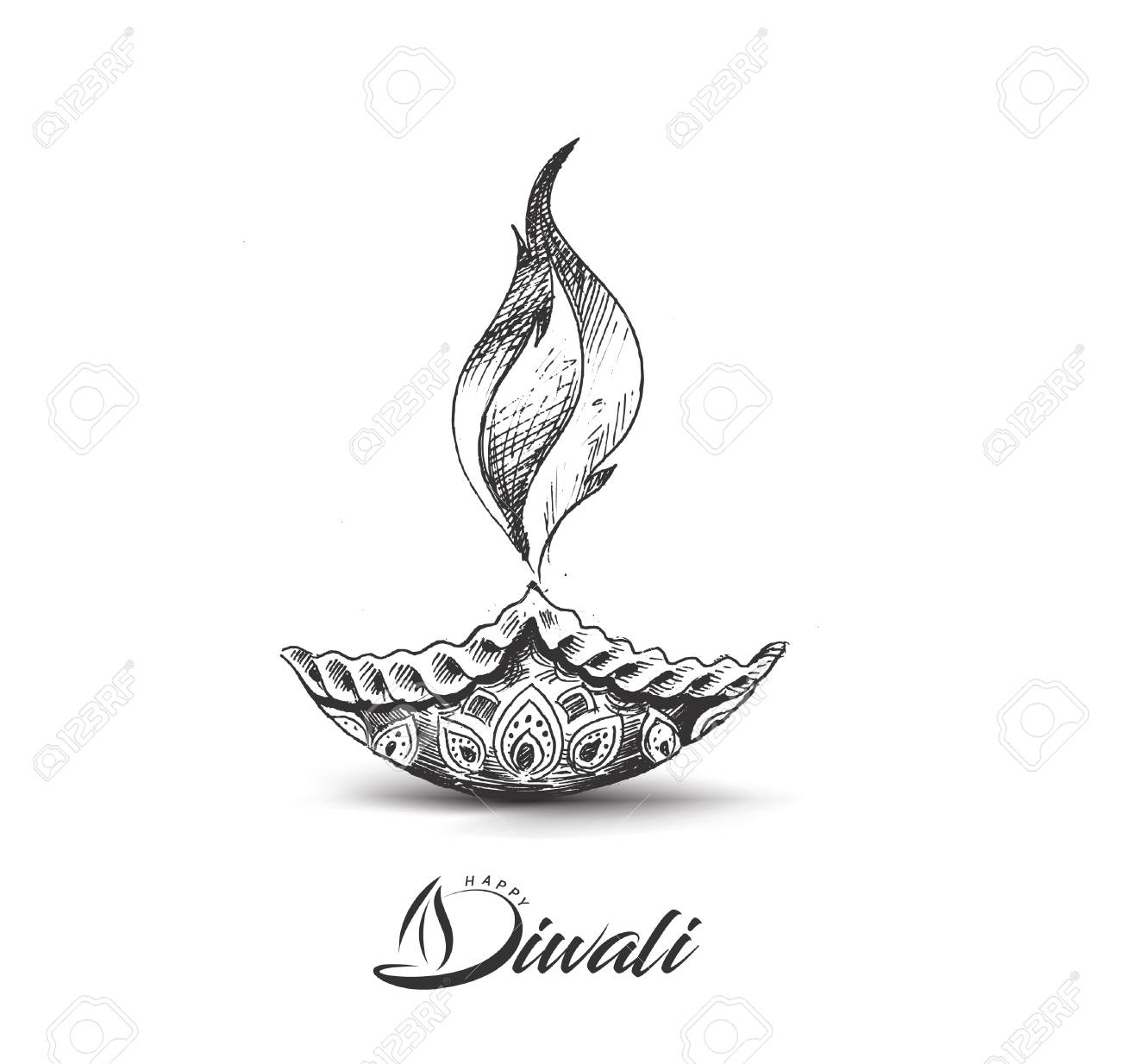 Diwali Festival Oil Lamp Diya Hand Drawn Sketch Vector Royalty Free Cliparts Vectors And Stock Illustration Image 87797924