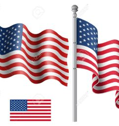 set of american flags with the flagpole vector illustration saved in eps 10 file with [ 1300 x 1060 Pixel ]