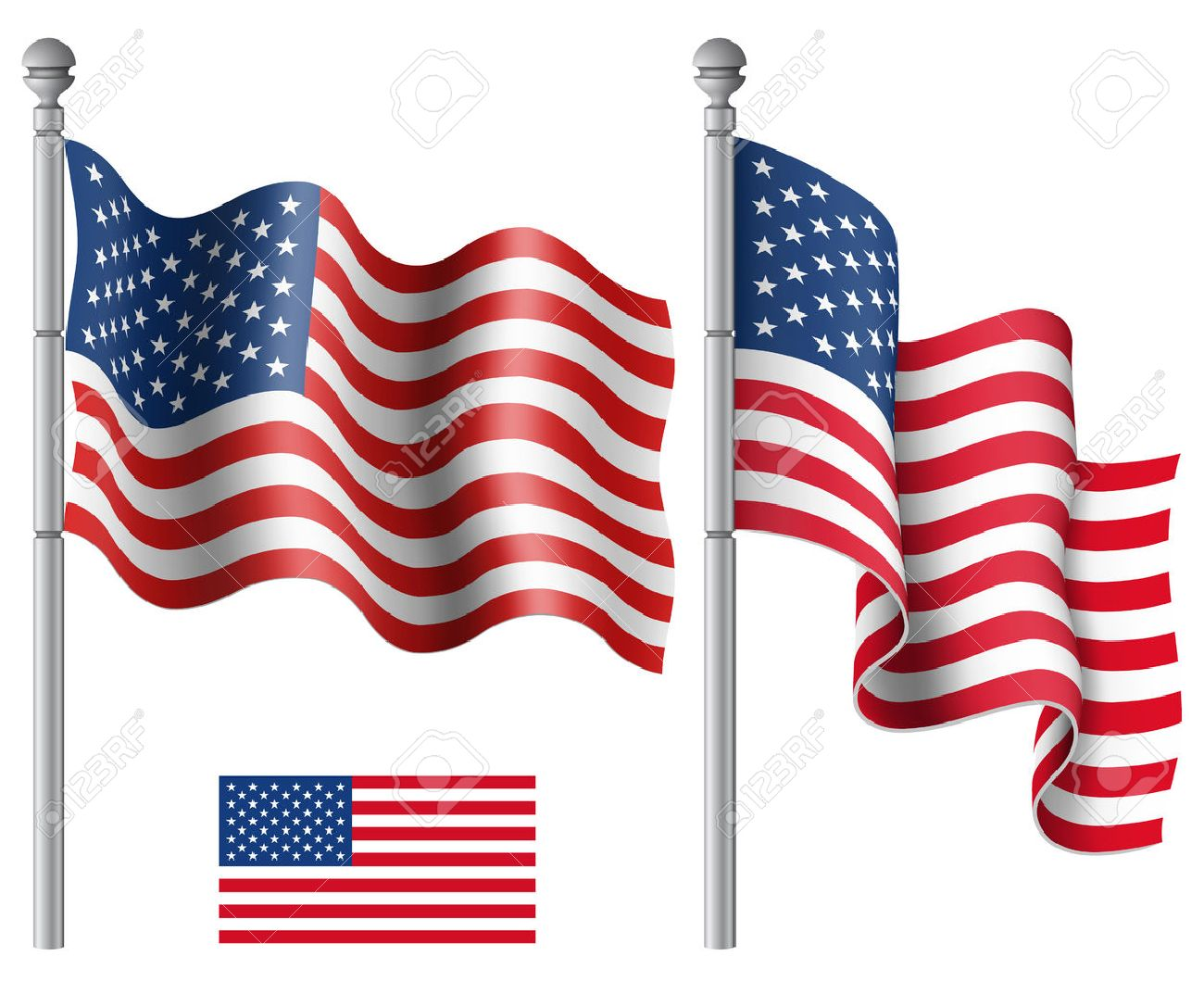 hight resolution of set of american flags with the flagpole vector illustration saved in eps 10 file with