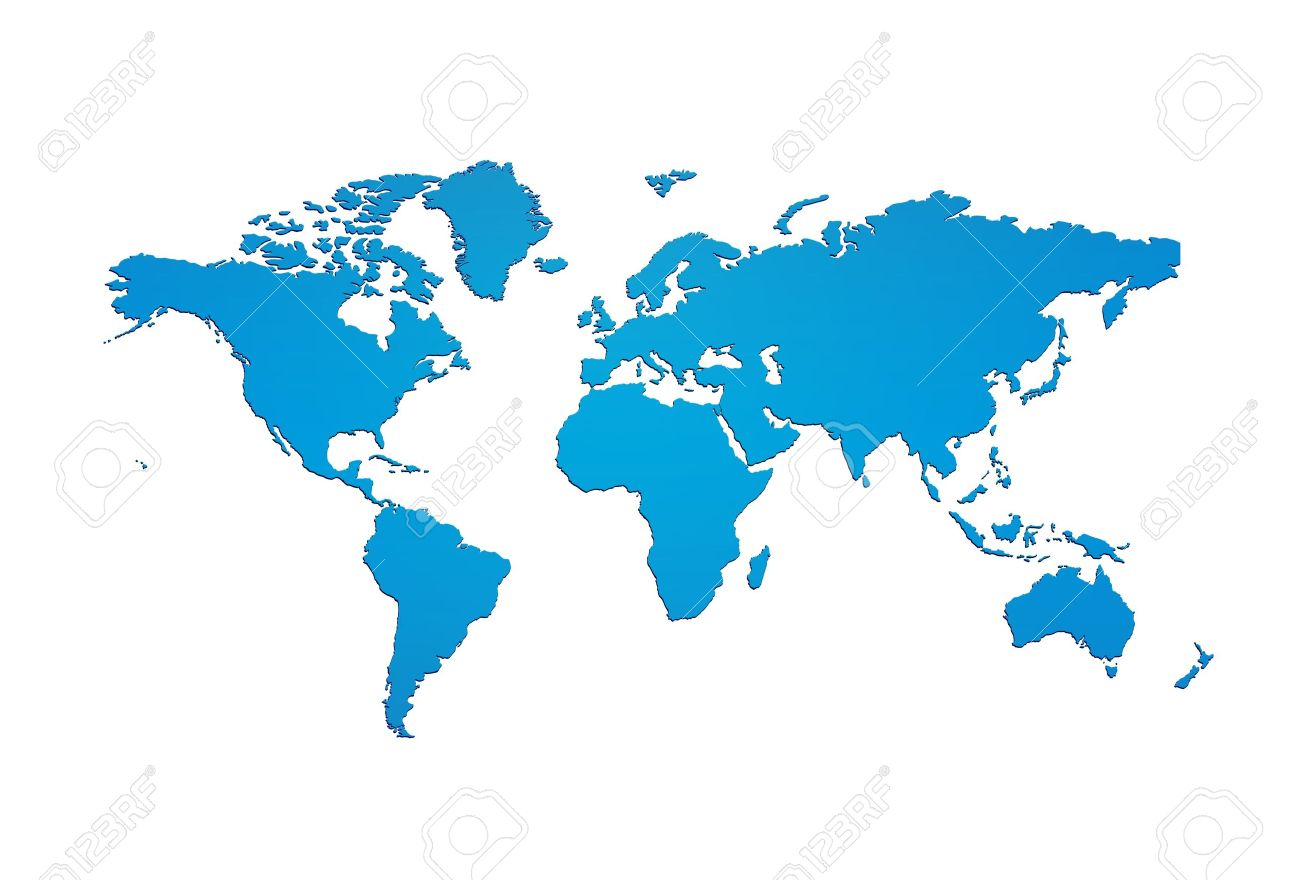 blue world map silhouette