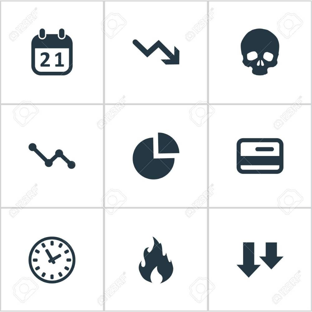 medium resolution of vector vector illustration set of simple situation icons elements circular diagram plastic card clock and other synonyms chart arrows and fire