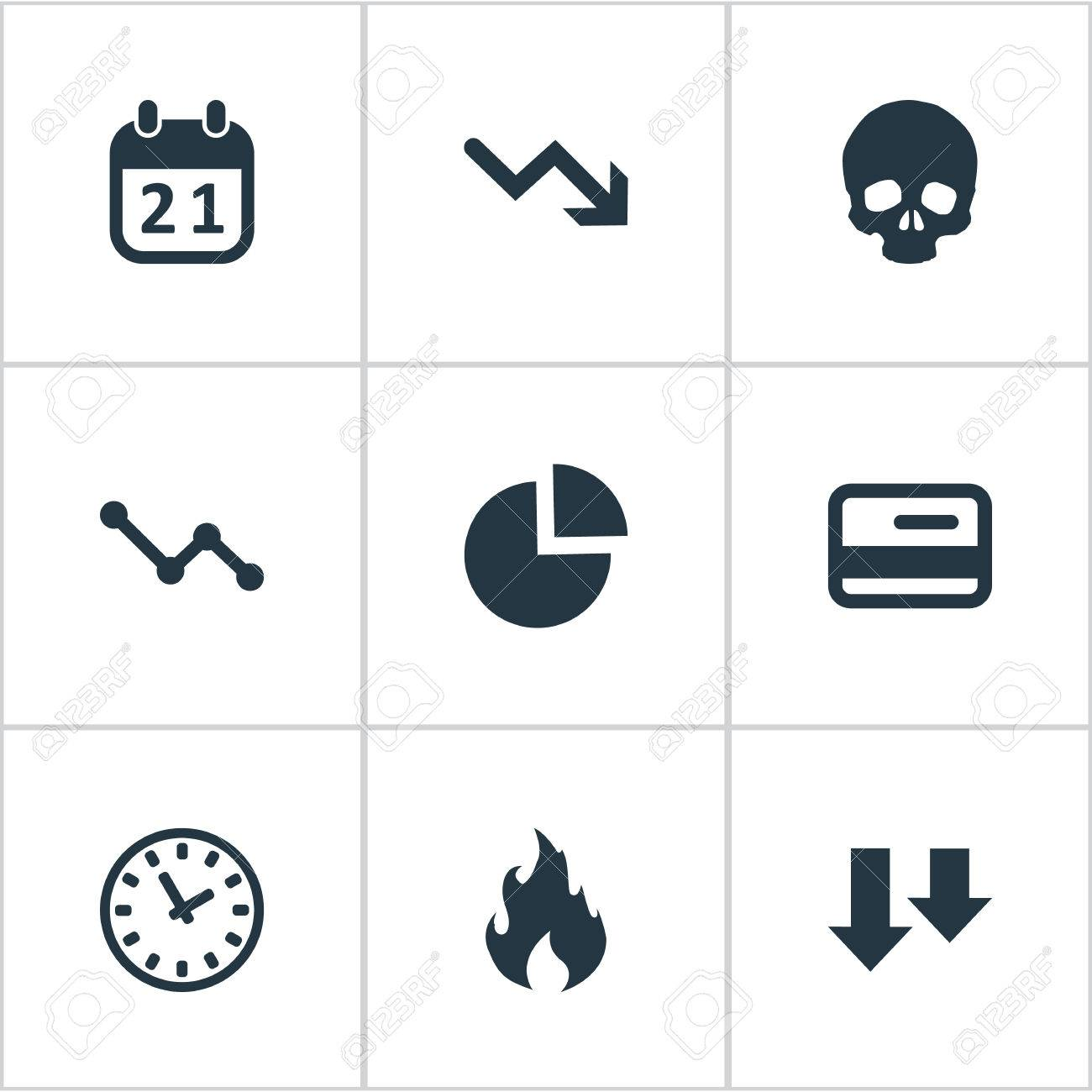 hight resolution of vector vector illustration set of simple situation icons elements circular diagram plastic card clock and other synonyms chart arrows and fire