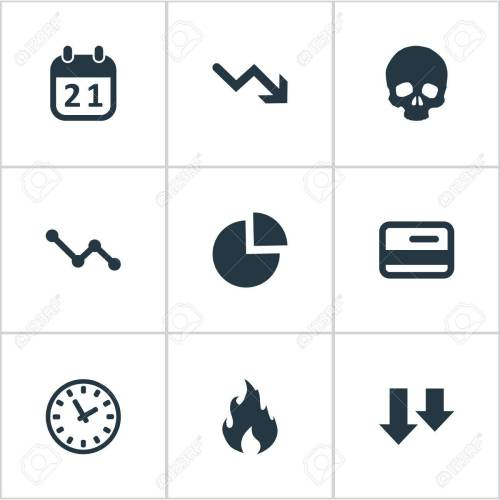 small resolution of vector vector illustration set of simple situation icons elements circular diagram plastic card clock and other synonyms chart arrows and fire