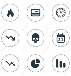 vector vector illustration set of simple trouble icons elements circular diagram agenda clock and other synonyms skull reminder and blaze  [ 1300 x 1300 Pixel ]