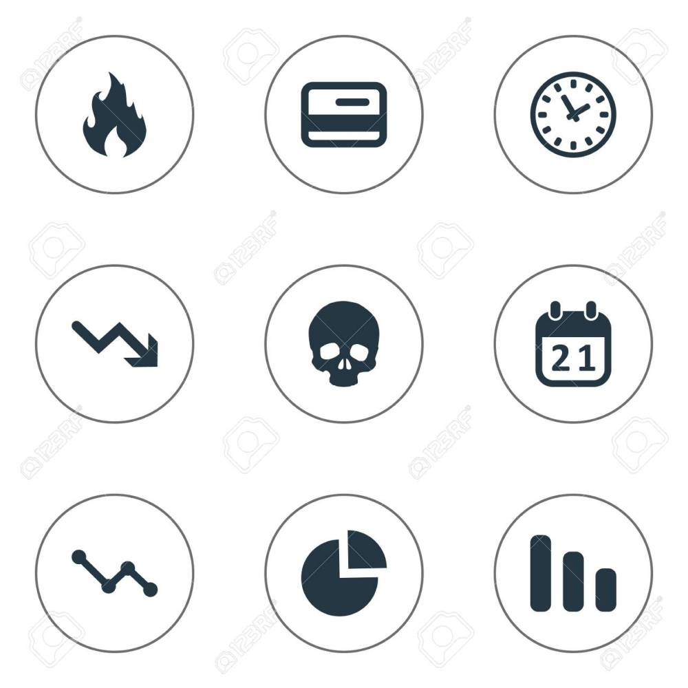 medium resolution of vector vector illustration set of simple trouble icons elements circular diagram agenda clock and other synonyms skull reminder and blaze
