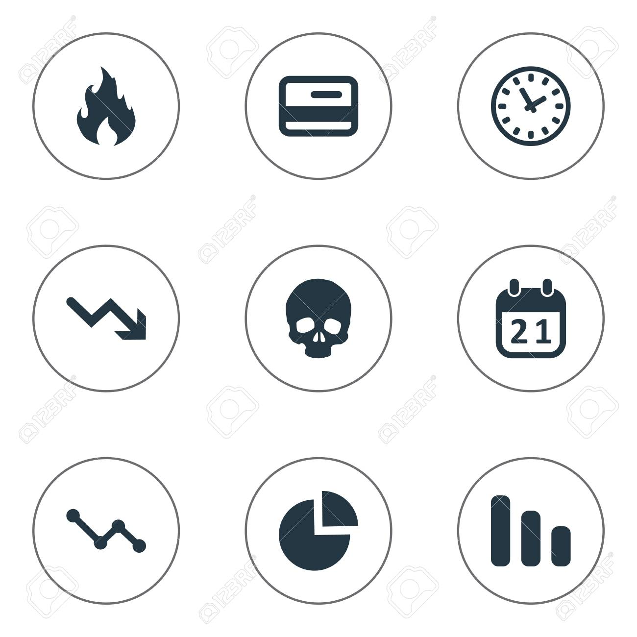 hight resolution of vector vector illustration set of simple trouble icons elements circular diagram agenda clock and other synonyms skull reminder and blaze